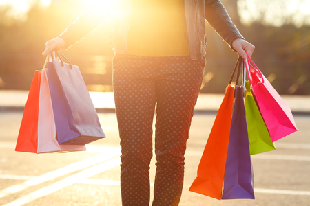 go shopping: Woman holding her shopping bags in her hand - Lets go shopping concept