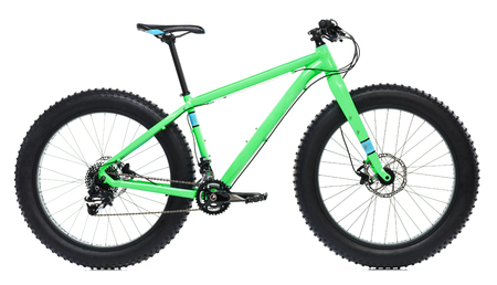 New blue bicycle with thick tires for snow ride isolated on a white background Stock fotó