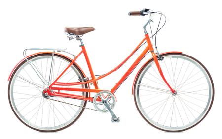 Stylish womens orange bicycle isolated on white background Stock Photo