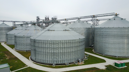 Birds eye view of granaries and elevators - an aerial photo Stock Photo