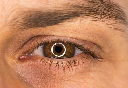 Beautiful male brown eye close-up Stock Photo
