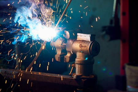 lockdown: Welding process for metal close-up Stock Photo