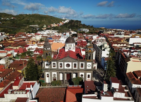 Aerial view on Cathedral and townscape San Cristobal De La Laguna, Tenerife, Canary Islands, Spain