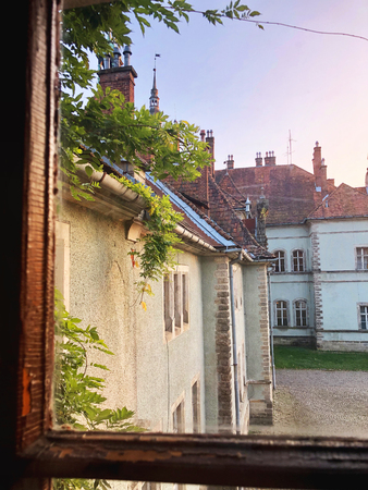 View from the window into the courtyard of Beregvar Castle, residence and hunting house of the counts Schonborn. Mukachevo district, Transcarpathian region, Ukraine