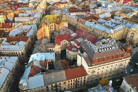 Aerial view of the historical center of Lviv, Ukraine. Shooting with drone Imagens
