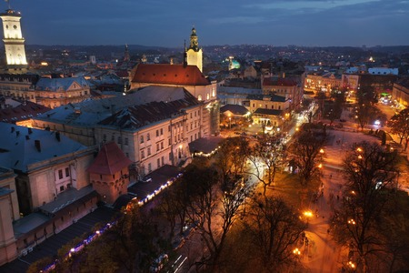 Aerial view of the historical center of Lviv, Ukraine at night.  Shooting with drone