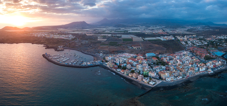 Aerial view of the city on the Atlantic coast. Tenerife, Canary Islands, Spain