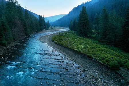 Picturesque mountain river close up. Carpathian mountains Imagens