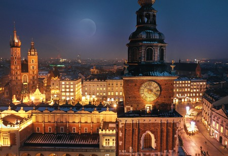 Aerial view of the Market Square in Krakow, Poland at night. Christmas cityscape