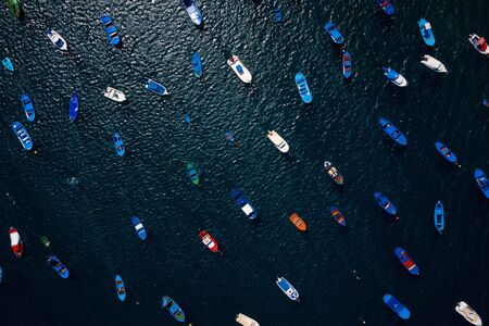Aerial view of the many anchored boats off the coast. Las Teresitas, Tenerife, Canaries, Spain Imagens
