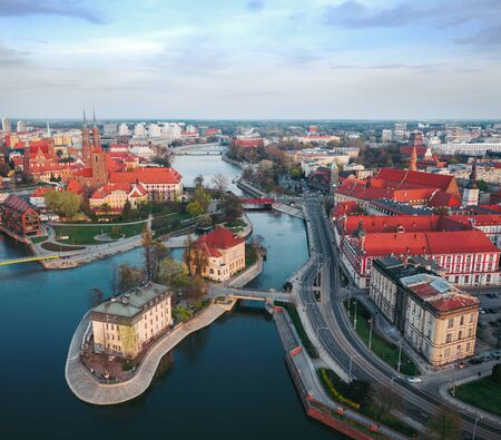Aerial view of the historic city center and the Odra River. Stare Myasto, Wroclaw, Poland