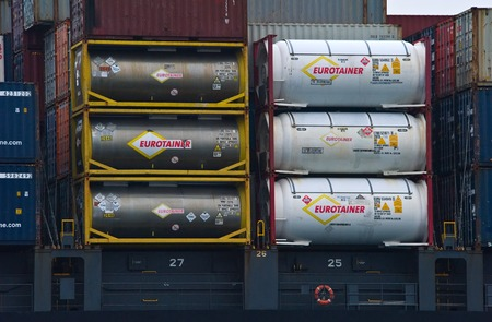 goods train: Containers with dangerous goods standing on the deck of a ship.  East (Japan) Sea. Pacific Ocean. 09.04.2014