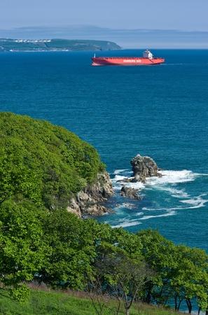 sarmiento: Container ship Monte Sarmiento runs along the green coast. Nakhodka Bay. East (Japan) Sea. 27.05.2014