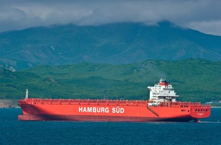 sarmiento: Empty container ship Monte Sarmiento moving by sea. Nakhodka Bay. East (Japan) Sea. 27.05.2014