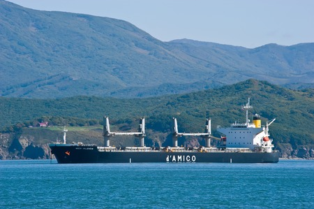 Nakhodka, Russia- October 4, 2015: Bulk carrier Medi Valencia at anchored in the roads. Editorial