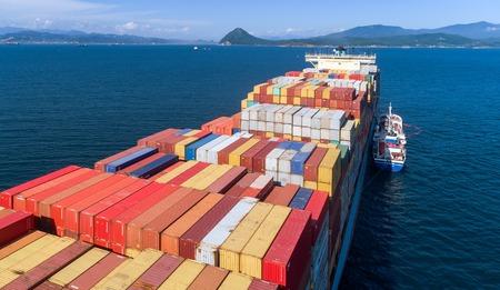Nakhodka. Russia - August 22, 2017: Bunkering tanker Zaliv Vostok a large container ship Gerner Maersk. Editorial