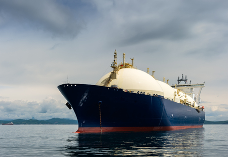 LNG-tanker at anchor in the road. Stockfoto