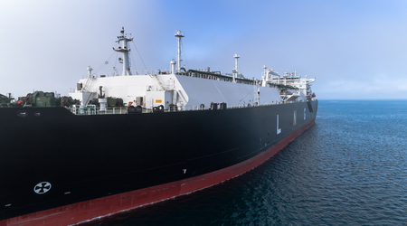 LNG-tanker at anchor in the road. Banco de Imagens