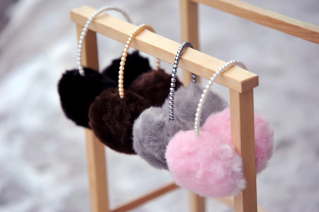 muffs: Pretty pink, gey and black fluffy ear mufs