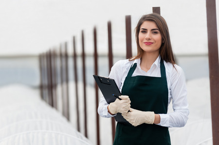 researcher: Female researcher technician studying with a tablet and gloves, dressed in office clothes,office shirt and apron in all withe greenhouse. Stock Photo