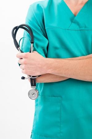 Male nurse with a stethoscope in the hands Stockfoto