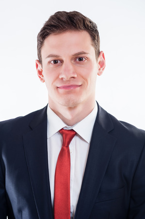businesslike: Portrait of young smilling businessman in black suit and red tie Stock Photo