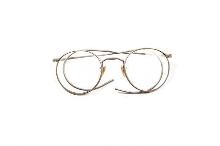 bifocals: Vintage round eyeglasses isolated on white. Stock Photo