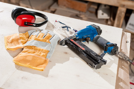 protective wear: Protective wear for carpentry and working tools Stock Photo