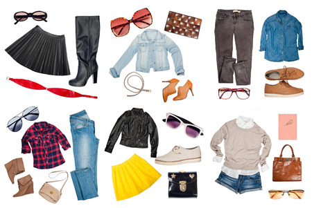 woman fashion: Outfits of clothes and woman accessories Stock Photo