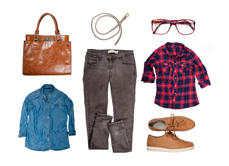 Outfit of clothes and woman accessories Standard-Bild