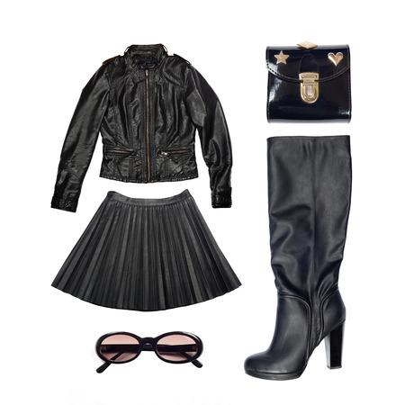 chaqueta de cuero: traje de cuero de ropa y accesorios de mujer