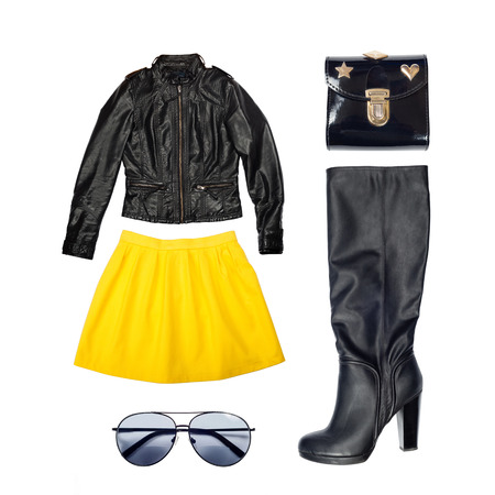 leather outfit of clothes and woman accessories Standard-Bild