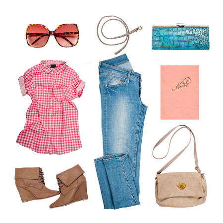 Outfit of clothes and woman accessories 스톡 콘텐츠
