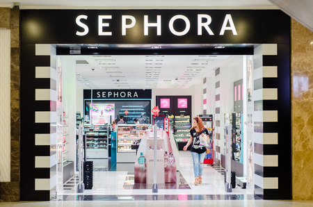 outlet store: IASI, ROMANIA: 07, JULY 2015: Sephora store; Sephora is a French brand and chain of cosmetics stores, operates over 1,700 stores in 30 countries Editorial