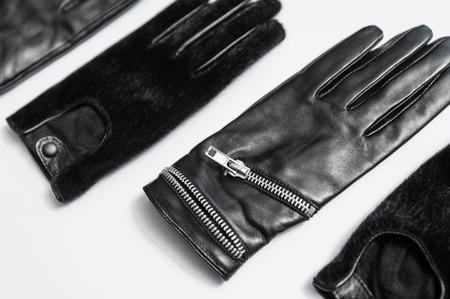 guantes: Guantes Mujer Cuero Negro Aislado