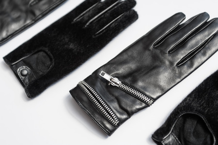 protective gloves: Woman Black Leather Gloves Isolated