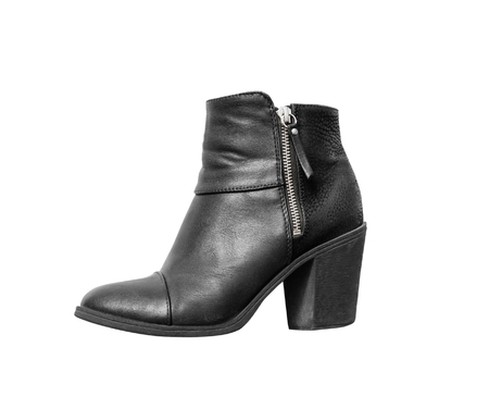 Womens autumn ankle boots black zip average heels, isolated white background