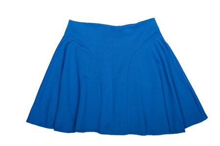 mini jupe: Bleu Mini-jupe. Isolé sur fond blanc