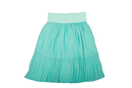 pleated: Blue pleated skirt isolated on white background Stock Photo