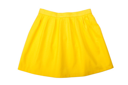pleated: Yellow pleated skirt isolated on white background