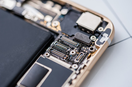 Close-up photo of inside smartphone components
