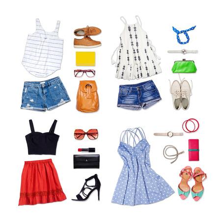 casual clothes: De arriba de la ropa y accesorios de mujer. Traje de mujer casual y moderno en el fondo blanco aislado. Foto de archivo