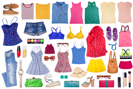 Outfits of clothes and woman accessories, sport, casual and elegant.