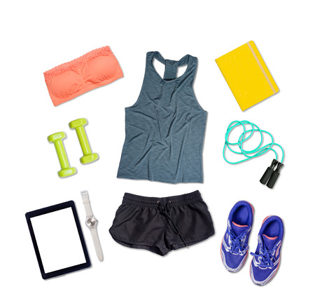 Sports outfit and equipment on white isolated background