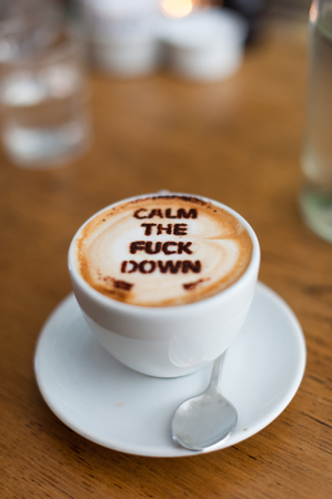 caffeine free: Coffee with a message. Text written on the coffee.