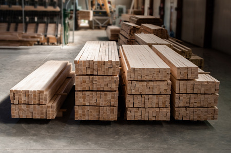 Group of wooden pallet in the factory.