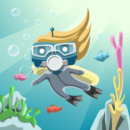 skin diving: Robot Diver underwater Illustration