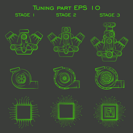 tuning car icons for creating apps and games on automotive topics, tuning of the power unit and the external parts, and spare parts.