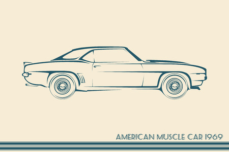 Amerikaanse muscle car silhouet '60 vintage vector