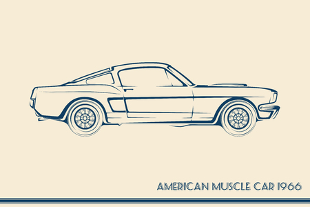 rod sign: American muscle car silhouette 60s vintage vector